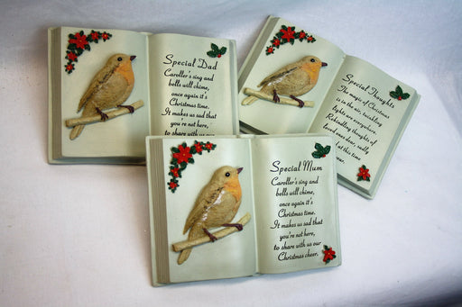 Special Thoughts Christmas Robin Memorial  Book -Choice of Loved One