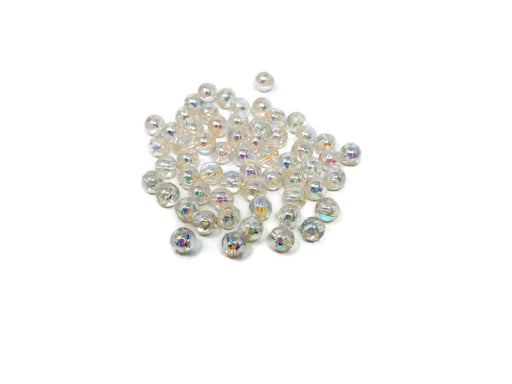6mm Round Clear Iridescent Beads x 60