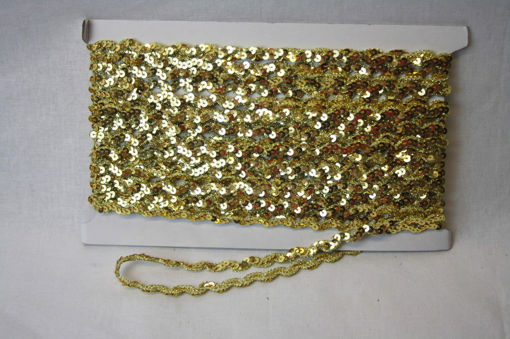 Flat Metallic Sequin Threaded Trim - Gold 5mm x 10m