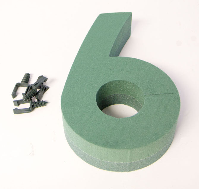 "Oasis Floral Foam Number with Clips ""6"""