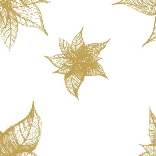 Poinsettia Print on Clear Plain cellophane -  Gold
