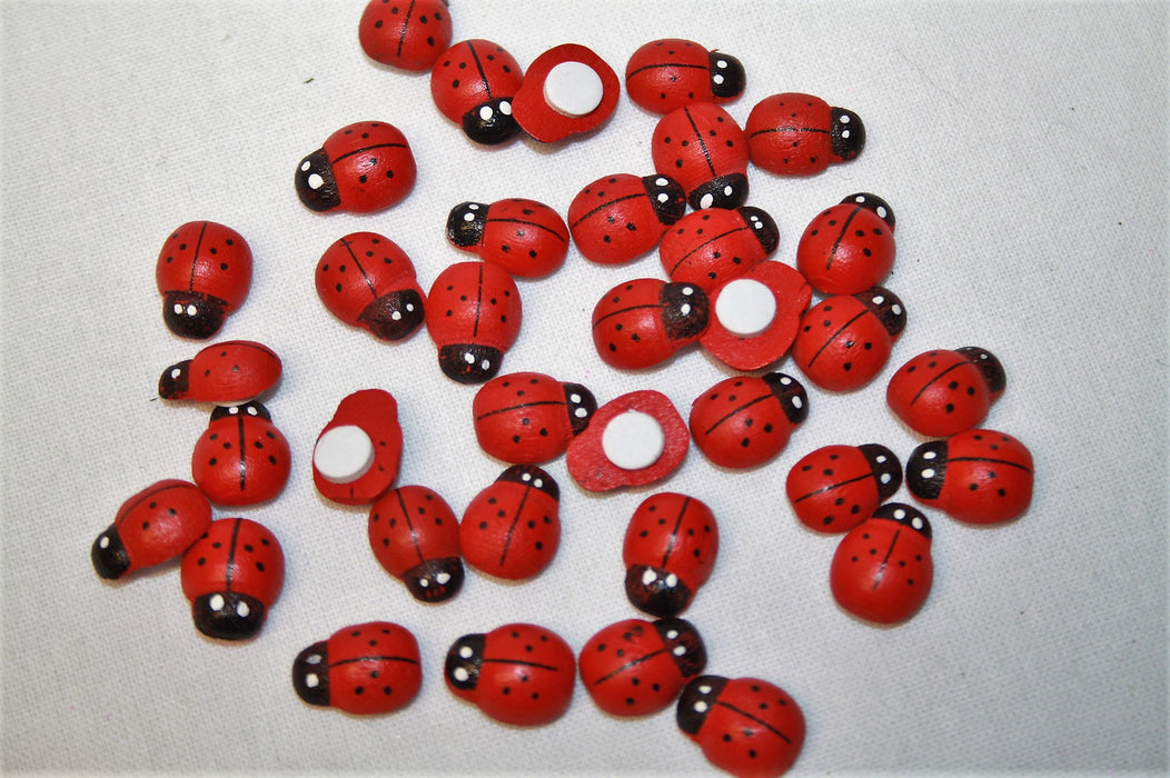 Mini Self Adhesive Wooden Ladybirds x 48