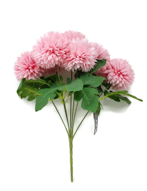 7 Head Spiky Chrysanthemum Bush x 32cm - Light Pink
