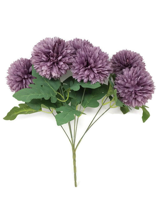 7 Head Spiky Chrysanthemum Bush x 32cm - Purple