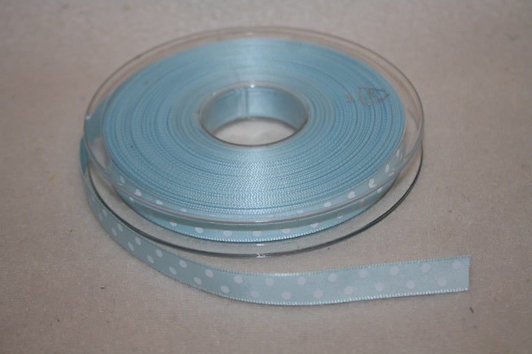 10mmx20m polka dot ribbon light blue L956