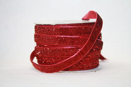 Red Glitter Velvet Ribbon 20m x 10cm