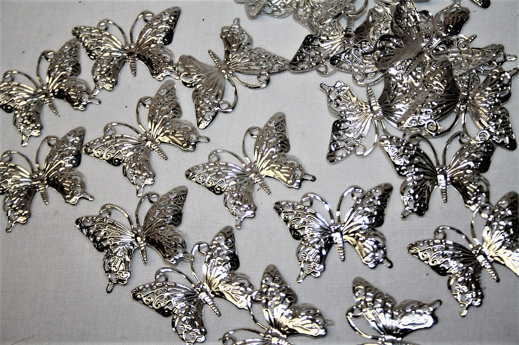 Silver Butterfly Table Decoration x 24