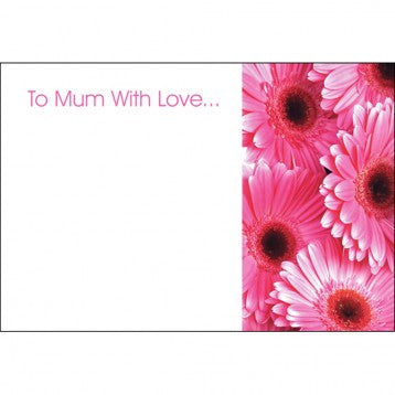 50 Mothers Day Gift Flower Cards -  To Mum With Love Cerise Gerberas  60-00087
