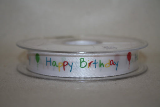 16mmx20m satin happy birthday ribbon white L373