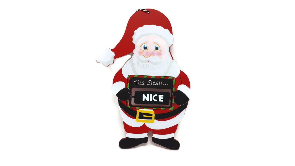 Naughty or Nice Wooden Hanging Santa Christmas Decoration