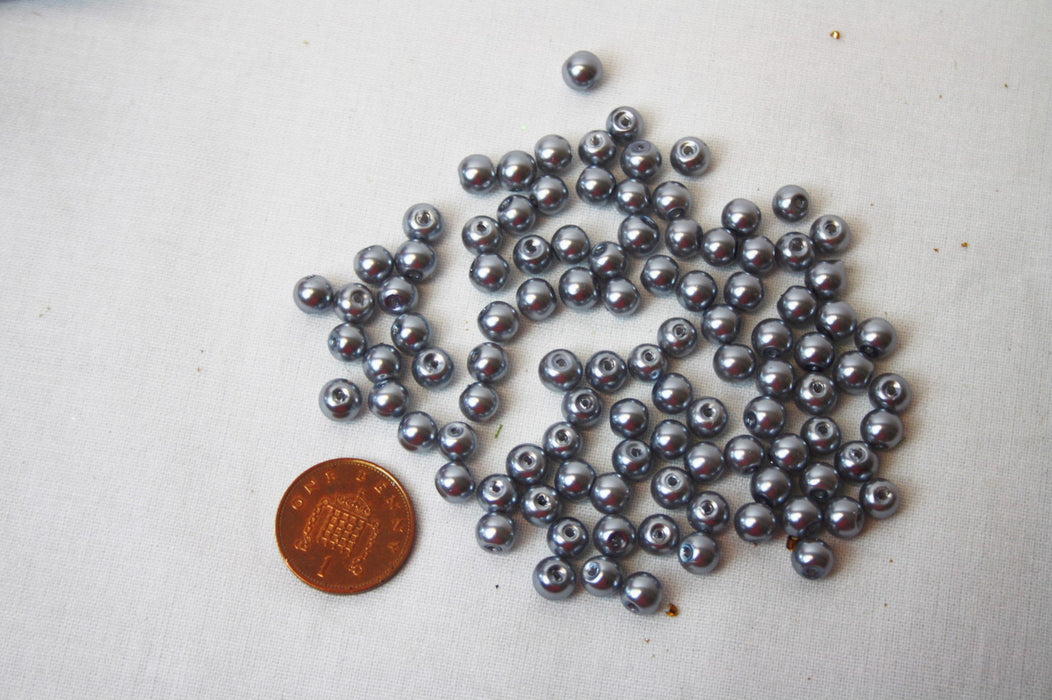 6mm Trimits Silver Glass Pearl Beads x 100