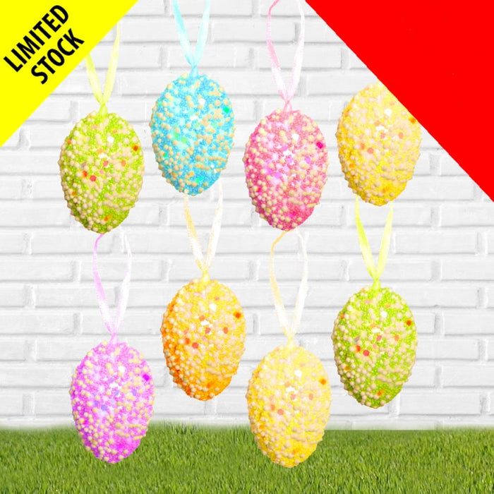 8 Hanging Foam Sparkle Eggs