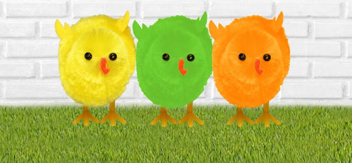 3 Pack of Easter Chicks x 6cm - Yellow, Green and Orange