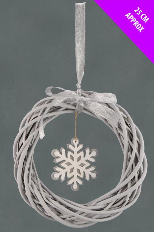 Natural Willow Snowflake Wreath x 25cm