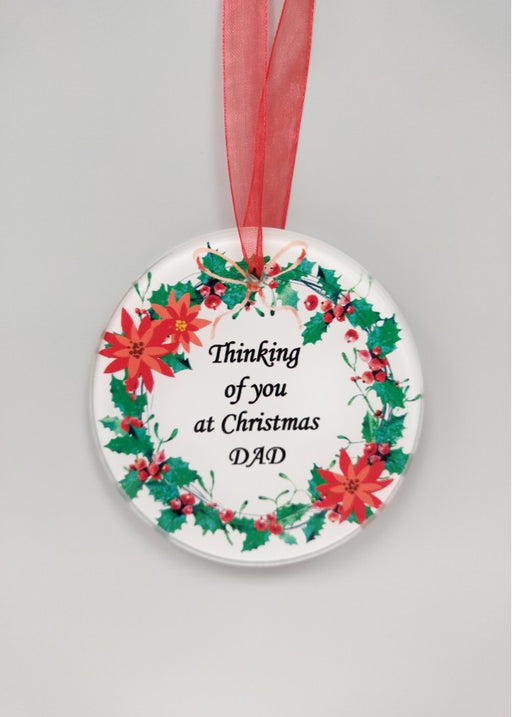 Christmas Wreath Glass Tree Hanger - Dad