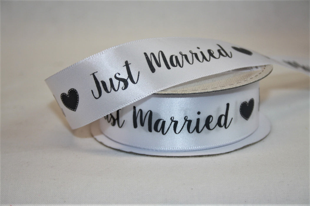 Just Married White Satin Ribbon 25mm