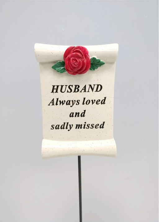 Red Rose Scroll Stick - Husband