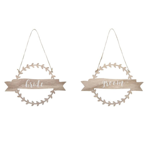 Chair Sign Bride and Groom Wooden Wreath Banner Natural