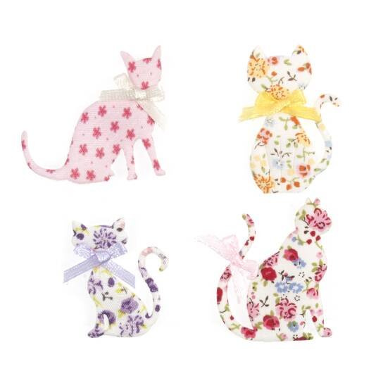 Felt Floral Cats, Craft Embellishments , Pack of 4