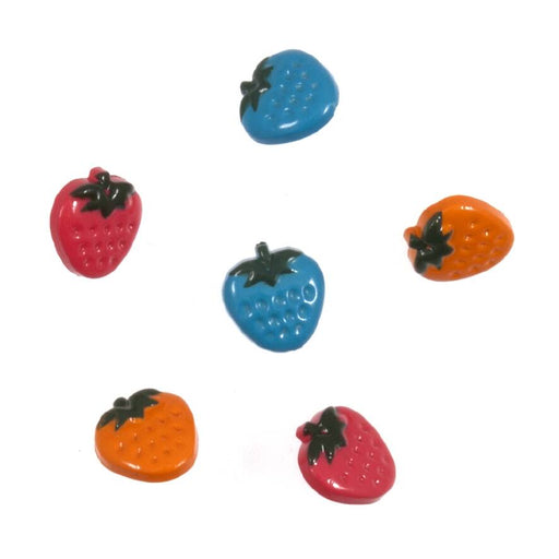 Novelty Craft Buttons ,Coloured Strawberries , Pack of 6
