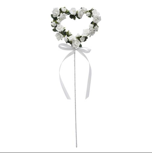 Foam Rose Heart Wand -  White