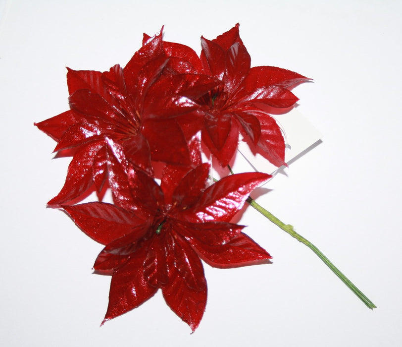Artificial Poinsettia Pick On Wire Stems - Red