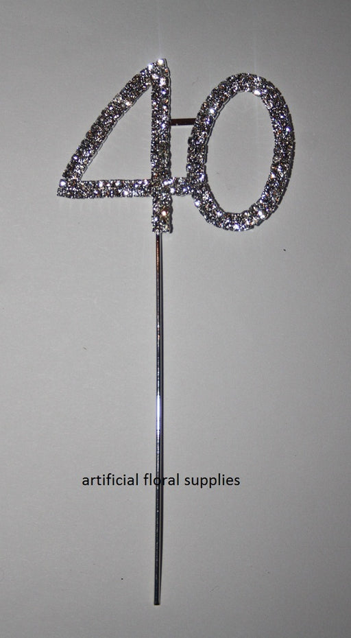 Double Number 40 Diamante Cake Topper