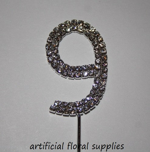 "Single Number Diamante Cake Topper ""9"""