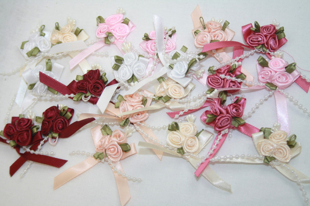 Satin Ribbon Bow with 3 Rose Cluster and Beads x 20 Assorted Warm Tones