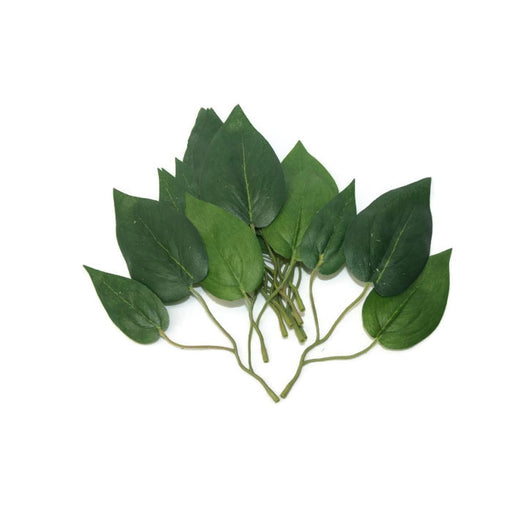 16cm Green Lily Leaves x 9 Sprigs