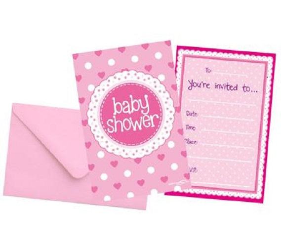 8 Baby Shower Invites with Envelopes - Pink