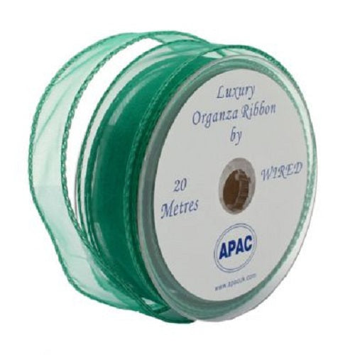 30mm x 20m Wired Organza Ribbon - Emerald Green
