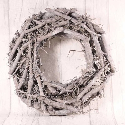 Round Grey Washed Twig Wreath (42cm)