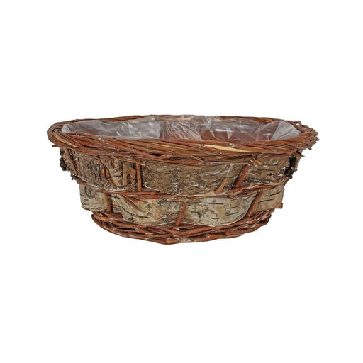 Round Willow and Bark Basket - 30cm
