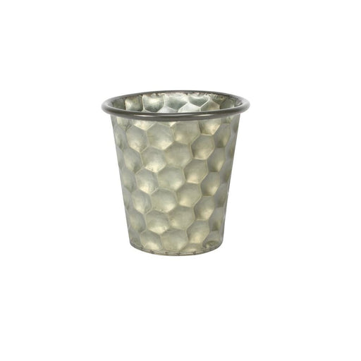 Conical Zinc Container W/Homeycomb Pattern (12x12cm)