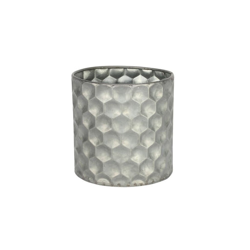 Cylinder Zinc Container W/Honeycomb Pattern (12x12cm)