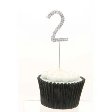 "Single Number Diamante Cake Topper ""2"""