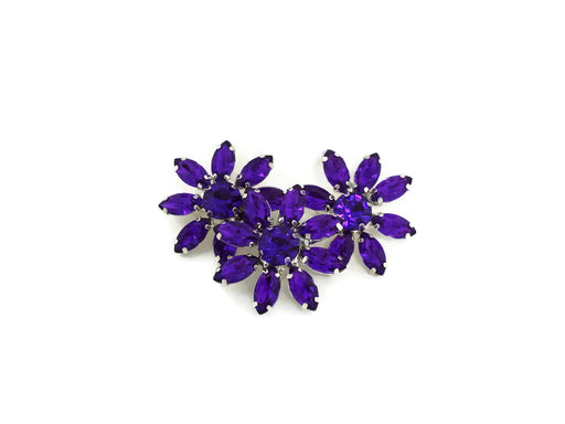 3 x Acrylic Crystal Flower Diamante Brooches x 28mm - Pink, Purple or Clear
