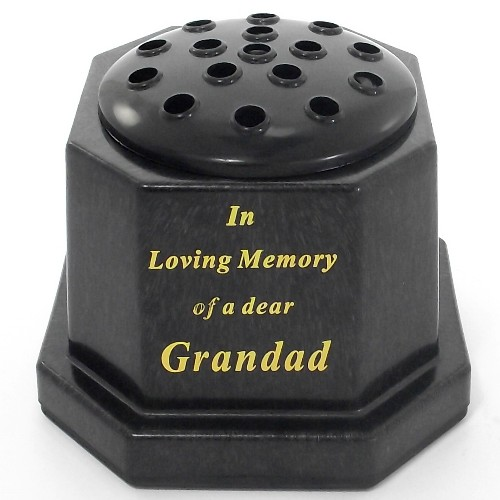 Black In Loving Memory Memorial Pot - Grandad