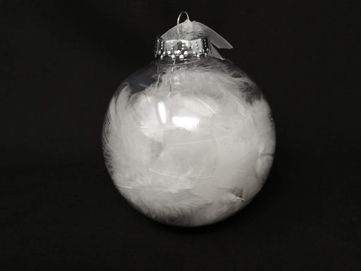 White Feather Clear Bauble - 8cm or 10cm
