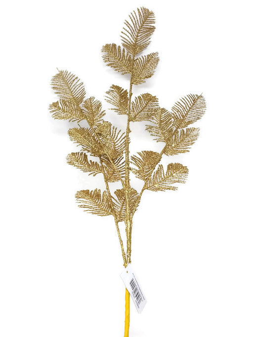 Glittered Tall Fern Spray x 72cm - Gold