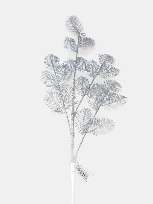 Glittered Tall Fern Spray x 72cm - Silver