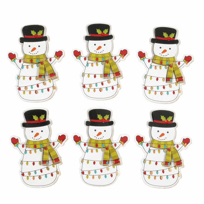 Self Adhesive Craft Embellishment x 7cm - Festive Snowman - Pack of 6