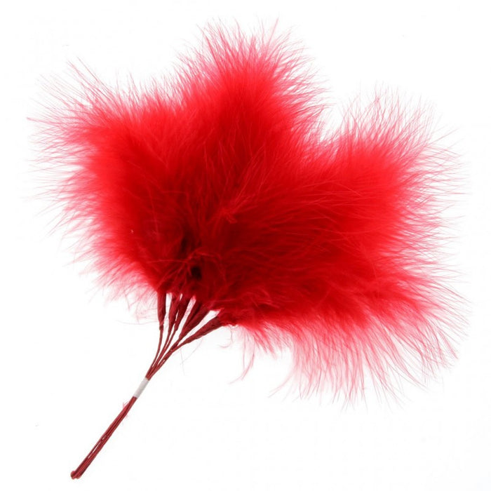 Fluffy Red Feathers x 6