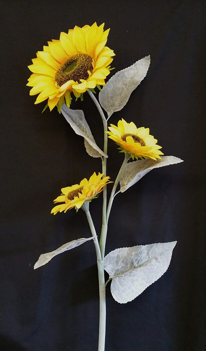 3 Head Large Sunflower Stem - Height 118cm