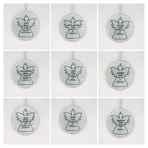 Silver Glass Angel Memorial Christmas Tree Hanger - Choice of Relative
