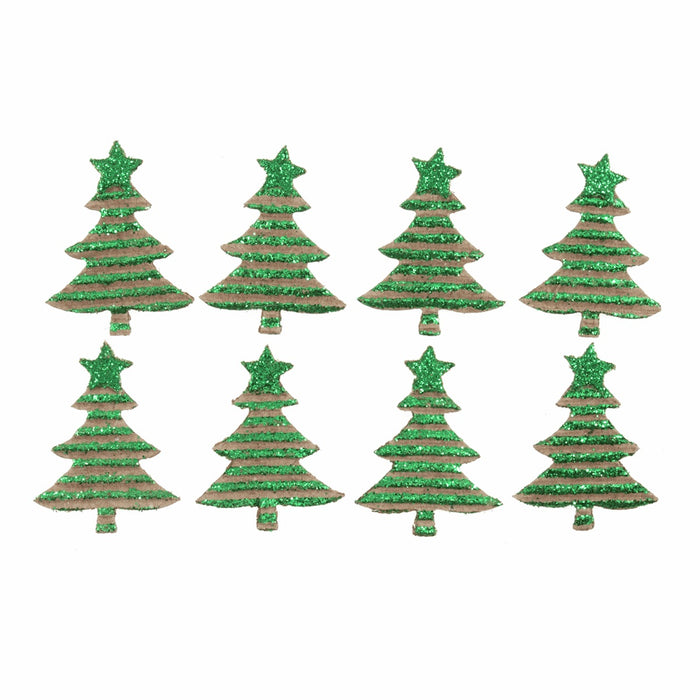Self Adhesive Corrugated Christmas Tree x 4cm - Green Glittered - Pack of 8