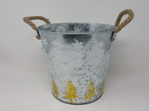 Silver Metal Planter Pot with Etched Tree & Snowflake x 24cm