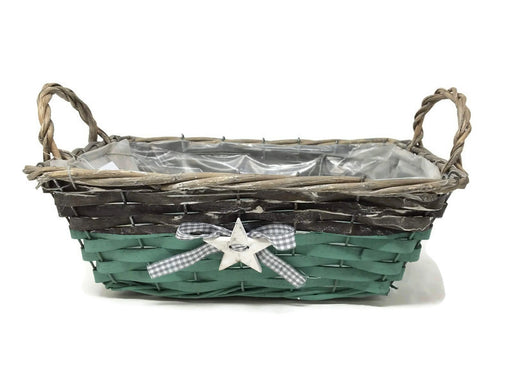 Green Lined Rectangle Basket with Star