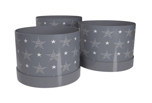 Seasons Greetings Hat Box - White on Grey - Set of 3